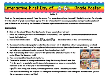 4th, 5th and 6th Grade Interactive First Day of School Poster!