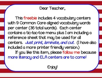 4th, 5th, or 6th Grades Vocabulary Center (Just print, laminate, & cut!)