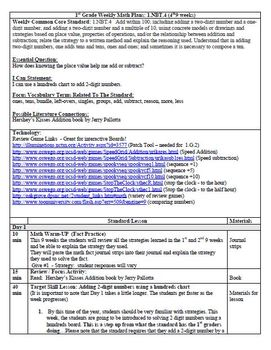 (4th 9 Weeks) Lesson Plans for 1st Grade Math Common Core