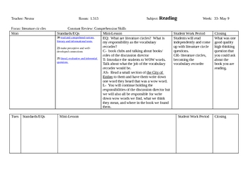 4th 9 weeks Reading Lesson Plans