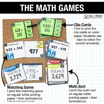4th - Addition and Subtraction Centers - Math Games