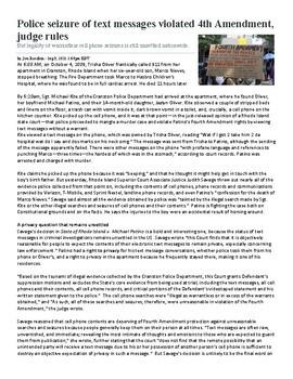 4th Amendment Current Events Articles Assignment