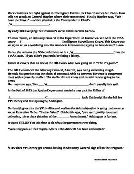 4th Amendment Warrant-less Searches Frontline: United States of Secrets Part I