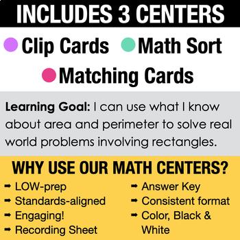 4th - Area & Perimeter Math Centers - Math Games