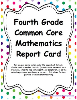 4th: CC LA, Math, & NGSS Report Cards