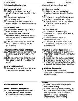 4th CCGPS Literature/Reading Checklist