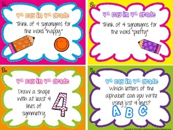 4th Day in 4th Grade Task Cards