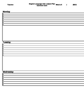 Th ELA Common Core Lesson Plan Template CheckOff Sheet By - Sample common core lesson plan template