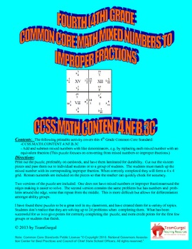 4th (Fourth) Grade Common Core - Converting Mixed Numbers to Improper Fractions