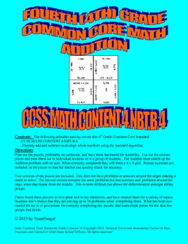 4th (Fourth) Grade Common Core - Multi Digit Whole Number Addition Puzzle