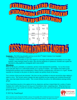 4th (Fourth) Grade Common Core - Multiplication of Multi Digit Whole Numbers