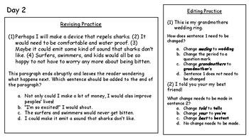 4th Fourth Grade STAAR Warm-Ups Writing Revising Editing Week 8