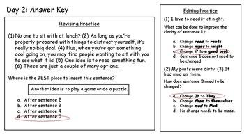 4th Fourth Grade STAAR Warm-Ups Writing Revising Editing Week 9