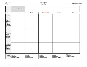 4th Fourth Grade Weekly Lesson Plan Template w Florida Standards Drop Down Lists