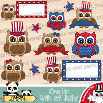4th Fourth of July Owls Theme Clip Art - Color and Black & White Outlines