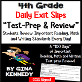 4th Grade Exit Slips: Math, Writing & Reading Daily Test-P