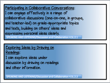 4th GRADE ENGLISH LANGUAGE ARTS INDIANA STATE STANDARDS I CAN CARDS