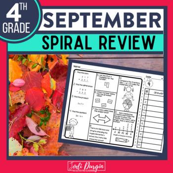 Fourth Grade Math Homework or 4th Grade Morning Work for SEPTEMBER