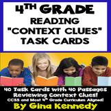 "4th Grade Context Clues, 40 Excellent ""Short Passages"" Reading Task Cards"