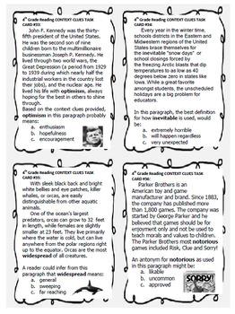 4th Grade Context Clues, 40 Excellent
