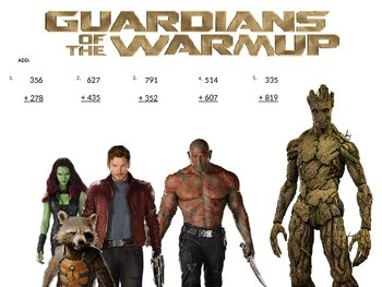 3rd GRADE MATH DAILY WARM UP - GUARDIANS OF THE GALAXY