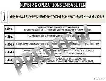 4th GRADE MATH TENMARKS DATA SHEETS NUMBER & OPERATIONS IN BASE TEN COMMON CORE