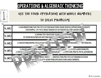 4th GRADE MATH TENMARKS DATA SHEETS OPERATIONS & ALGEBRAIC THINKING COMMON CORE