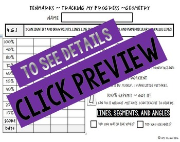 4th GRADE MATH TENMARKS DATA SHEETS TRACKING ASSESSMENTS GEOMETRY COMMON CORE