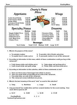 FREE ~ 4th GRADE READING - MENU