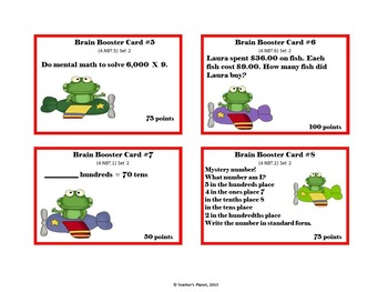 4th Grade Math Game /Task Cards - Numbers Base Ten  Set 2