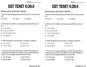 Factors and Multiples Math Tasks and Exit Tickets