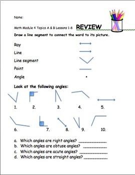 4th Gr.  Eureka Math Module 4 Lessons 1-8 (Tops A&B)  Differentiated Quiz/Review