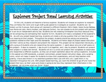 4th Gr S.S: Famous Explorers Project Based Learning Activities w/ Rubric and EQs