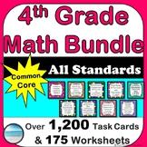 4th Grade Math Curriculum Bundle - Task Cards, Printables, Assessments, Homework