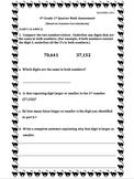 4th Grade 1st Quarter Common Core Math Assessment (ANSWER