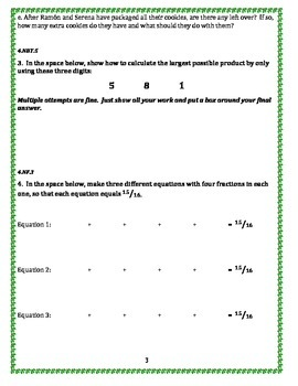 4th Grade 2nd Quarter Common Core Math Assessment [ANS. KEY INCLUDED]