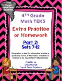 4th Grade Math TEKS: Extra Spiral Review Practice / Homework Part 2 (Sets 7-12)