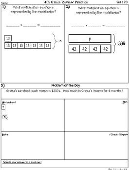 4th Grade Math TEKS: Extra Spiral Review Practice / Homework Part 2 (Sets 7-12)