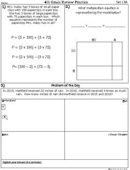 4th Grade Math TEKS: Extra Spiral Review Practice / Homework Part 3 (Sets 13-18)