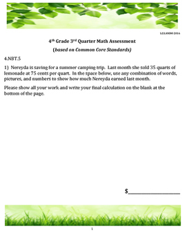 4th Grade 3rd Quarter Common Core Math Assessment [ANSWER