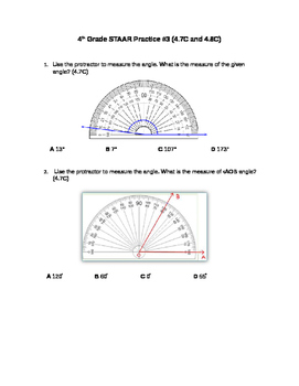4th Grade 4.7C and 4.8C angles and measurement