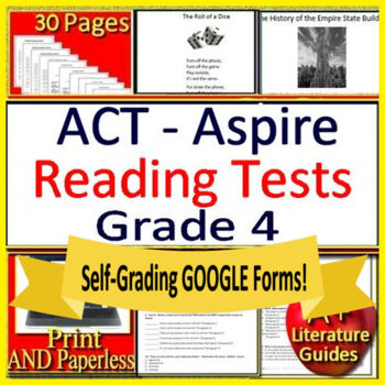 4th Grade ACT Aspire Test Prep Reading Practice Tests Print + Google Paperless!