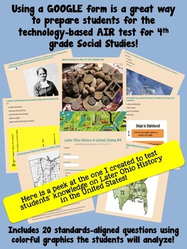 4th Grade AIR SS Test Prep #4 Using Google Forms (Later Ohio History in the US)