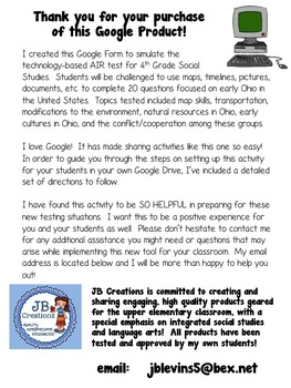 4th Grade AIR Social Studies Test Prep #1 Using Google Forms (Early Ohio & US)