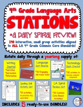 4th Grade AIR TEST PREP daily review bundle for Language Arts!
