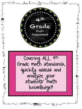 4th Grade ALL MATH STANDARDS Pre/Post Assessment BUNDLE!