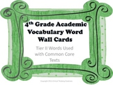 4th Grade Academic Word Wall Words with Green Border