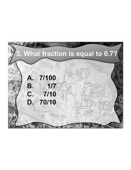 4th Grade ActivInspire 5 question assessment 4.NF.C.6/4.NF.6 Fractions/Decimals