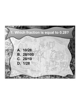 4th Grade ActivInspire 5 question assessment 4.NF.C.6/4.NF