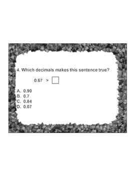 4th Grade ActivInspire 5 question assessment 4.NF.C.7/4.NF.7 Comparing Decimals